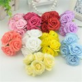 6pcs/lot 4.5cm New Arrival Mini Silk Artificial Rose Flowers Bouquet Wedding Decoration For DIY Handmake Scrapbooking Flower