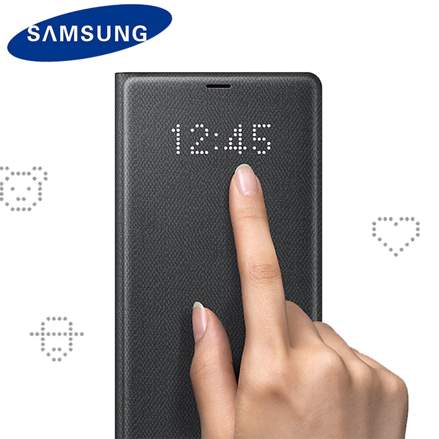 watch 2ea8d 0817e Original Samsung Note 8 LED Case View Flip Wallet Case For Samsung Note 8  N950 LED Shockproof Luxury Smart Leather Shell