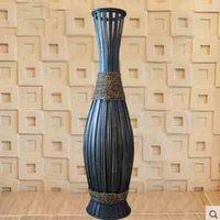 90cm High Big Bamboo & Wood Vase Large Floor Vase Retro Vintage Living Room Home Decor Craft Flower Pot Decoration Floor Vase