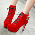Women Lace Up high Heel Buckle Boots Black/Red Flock Sexy Ankle Boots Womens Girls Nightclub Shoes Wedding Bridals Shoes Spring