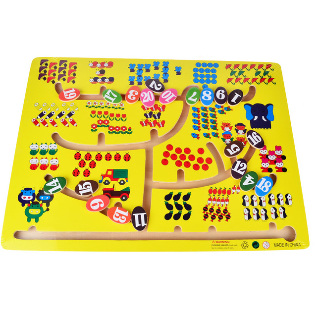 BOHS Big Size 1-20 Numbers Matching Slide Game Board Math  Rail Maze Intelligence Toys 1 - 3 years old baby 30*40cm