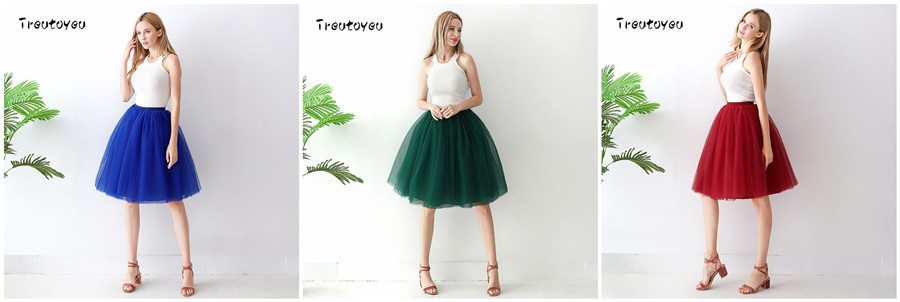 Streetwear 7 Layers 65cm Midi Pleated Skirt Women Gothic High Waist Tulle Skater Skirt rokjes dames ropa mujer 19 jupe femme 16