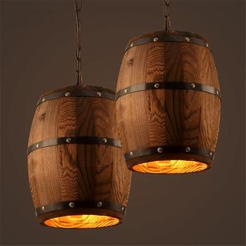 Modern nature wood Wine barrel hanging Fixture ceiling pendant lamp light for bar cafe living dining room restaurant