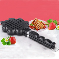 Metal DIY Heart Shaped Egg Waffle Pan Non Stick Double Side Biscuits Muffin Mould Baking