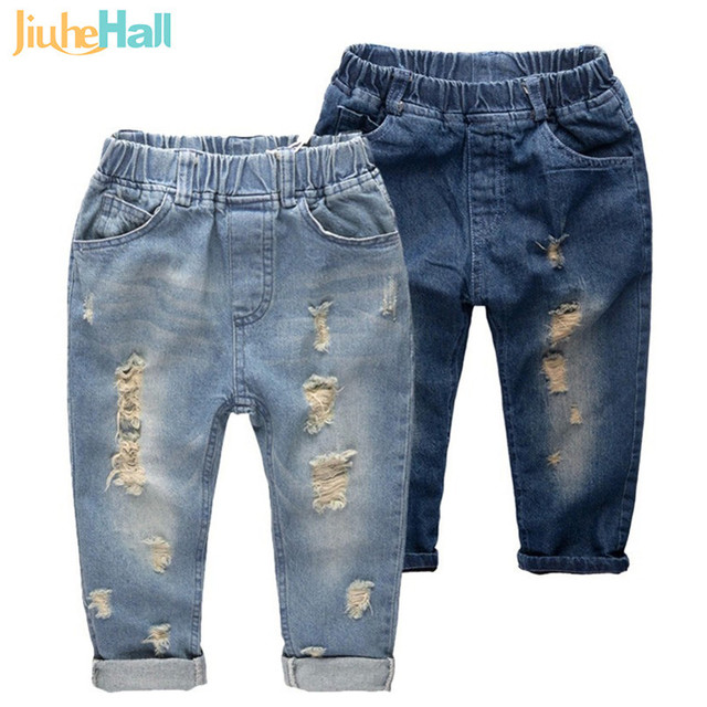 Jiuhehall 90~160cm Hot Sale Boys Ripped Jeans Fashion Wear White Cowboy Pants For Kids Elastic Waist Children's Trousers CMB757