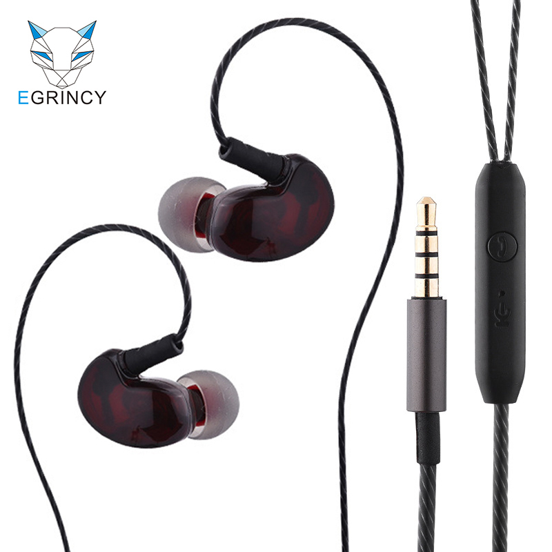 EGRINCY Copper Driver HiFi Handsfree Sport Headset Ear Hook Stereo Bass Earphone For Running With Microphone For iPhone MP3/4 PC kz ates ate atr hd9 copper driver hifi sport headphones in ear earphone for running with microphone game headset