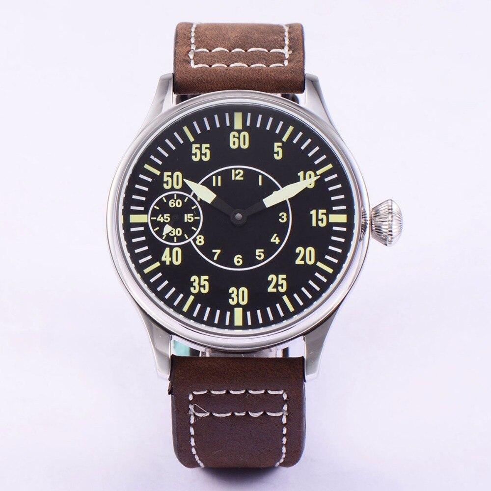 Sterile 44mm Luminous 6497 Hand Winding ST3600 Movement Manual  Machinery Watch men Sapphire Glass 316L SS mechanical  wristwatcheMechanical Watches