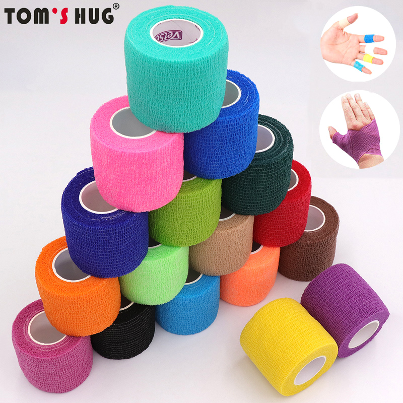 18 Colors Colorful Athletic Wrap Tape Self Adhesive Elastic Bandage Elastoplast Sports Protector Knee Finger Ankle Palm Shoulder