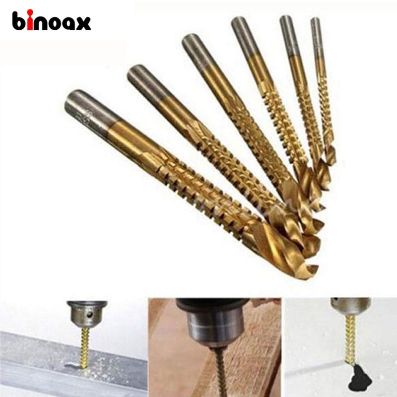 Binoax 6Pcs/set Min Titanium Coated HSS High Speed Steel Drill Bit Set Tool Woodworking #P00050#