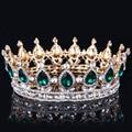 2016 el Oro de Cristal Verde Elegante Royal Regal Brillante Rhinestones Quinceanera Del Desfile de Tiaras Y Coronas de Novia Tiaras