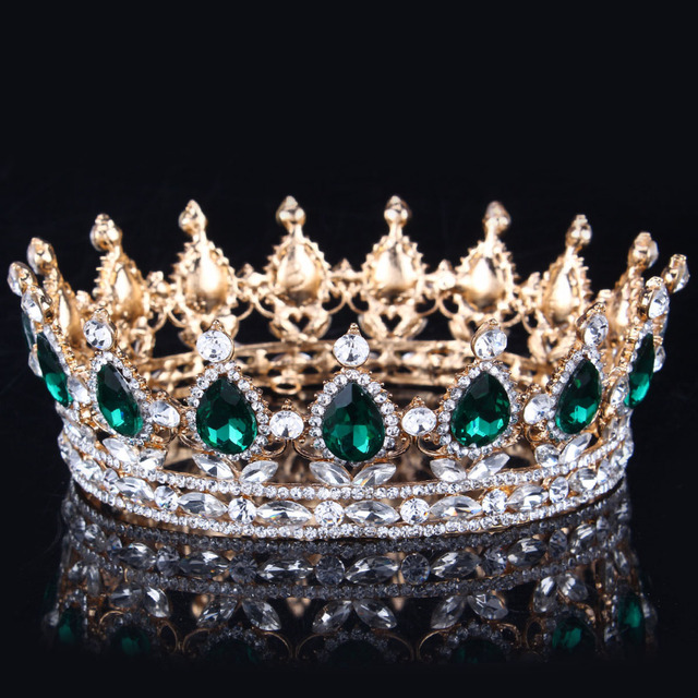 2017 Green Crystal Gold Color Chic Royal Regal Sparkly Rhinestones Tiaras And Crowns Bridal Quinceanera Pageant Tiaras