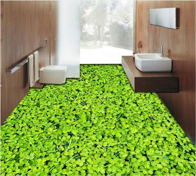 3d plancher Trèfle 3D salle de bains étage peinture papier peint ...