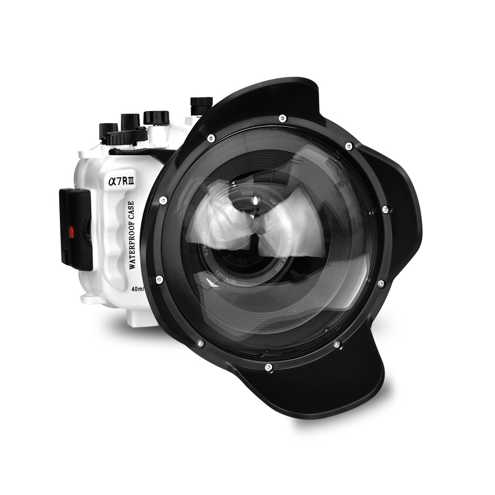 130ft/40m Caja impermeable carcasa subacuática Cámara buceo funda para Sony A7 III A7R III A7M3 28- 70mm 90mm o 16-35mm con cúpula
