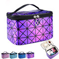 Cosmetic Bag For Women 3D Laser Diamond Pattern Portable Make Up Bag Case Hanging Toiletries Travel Jewelry Organizer Fashion