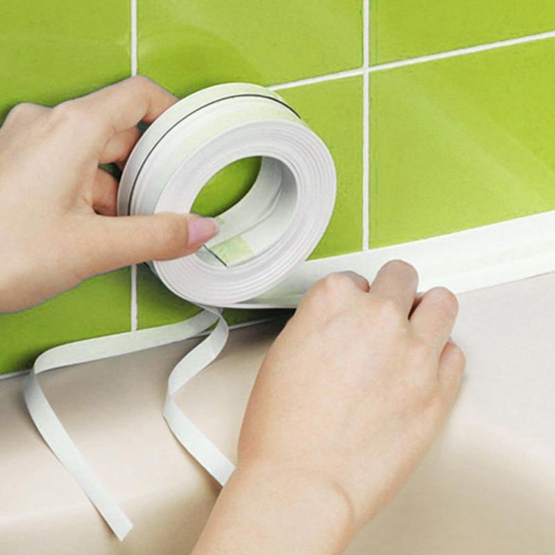 Top Quality 1Roll Kitchen Bathroom Wall Sealing Tape Waterproof Mould Proof Prectical Household Adhesive Tape Gadgets 3.2mx3.8cm 1 roll pvc material kitchen bathroom wall sealing tape waterproof mold proof adhesive tape 3 2mx2 2cm