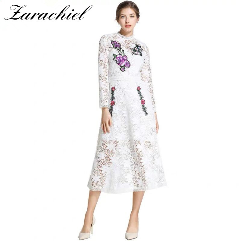 High Quality Retro 2019 Spring New Arrival Round Collar Two Pieces Lace Vest Flower Embroidery Cake Style Woman Long Dress Dresses