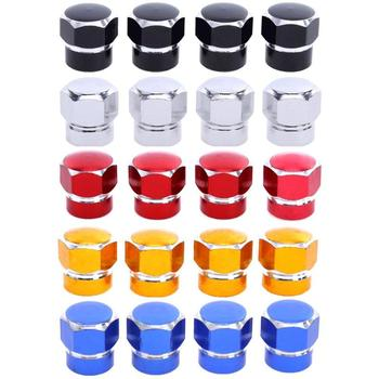 4 Pcs Universal Aluminum Auto Bicycle Car Tire Valve Caps Tyre Wheel Hexagonal Ventile Air Stems Cover Airtight Rims Accessories image