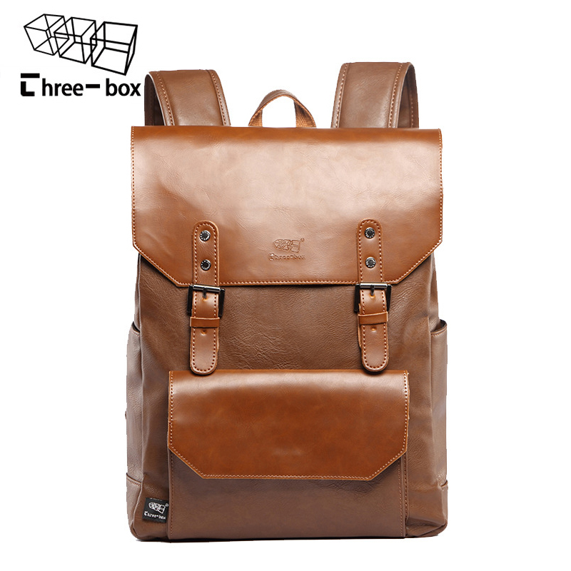 Three Box Brand Leather Men Vintage Backpacks Casual Daypacks Teenager Laptop Shoulder School Bag Korean Travel Backpack Mochila