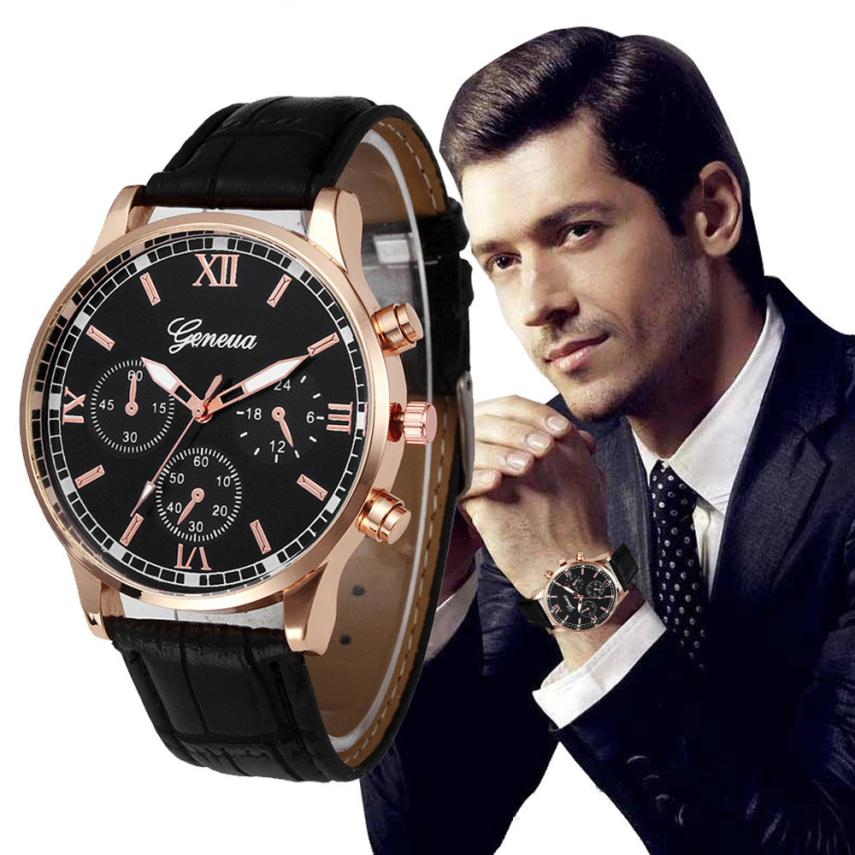 Business Style Black Dial Watches Mens Luxury Brand Retro Design Leather Strap Analog Quartz Wrist Watch Sport Clock Relogio