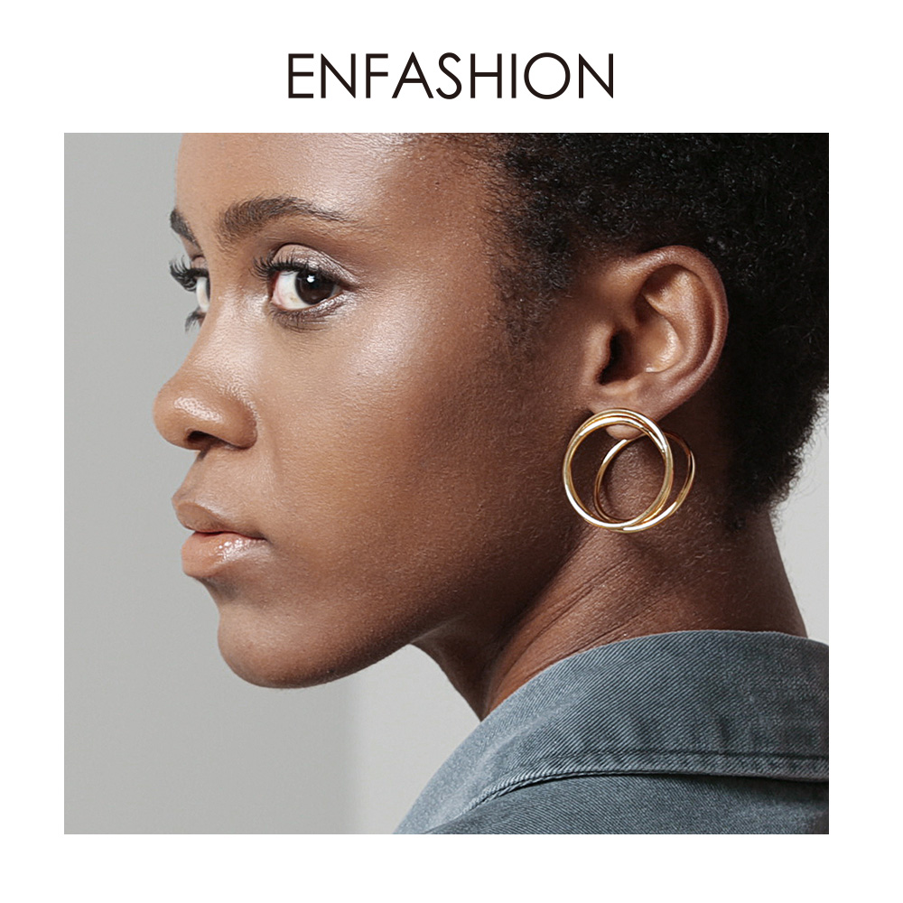 ENFASHION Multi-layer Circle Stud Earrings For Women Punk Geometric Simple Line Earings Statement Fashion Jewelry Oorbellen 1032