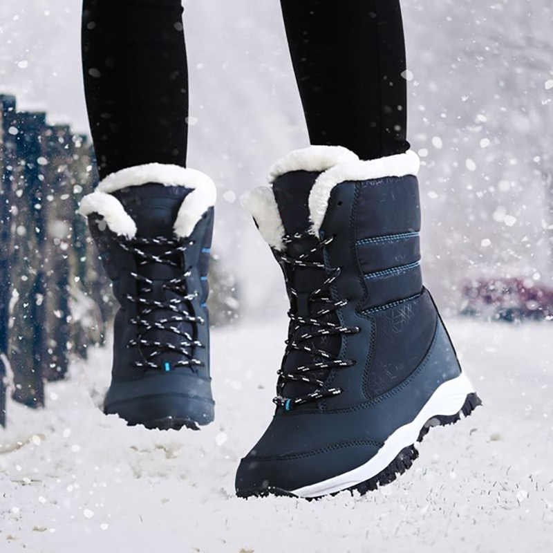 LAKESHI Women Boots Winter Snow Boots Women Ankle Boots Black Fashion 2019 new Brand Keep Warm Casual Shoes
