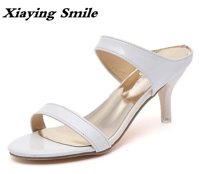 Xiaying Smile Summer Women Sandals Thin Heels Pumps Fashion Sweet Style Solid Shoes Casual Lady Rubber Shallow Open Toe Shoes xiaying smile new summer woman sandals shoes women pumps platform fashion casual square heel buckle strap open toe women shoes