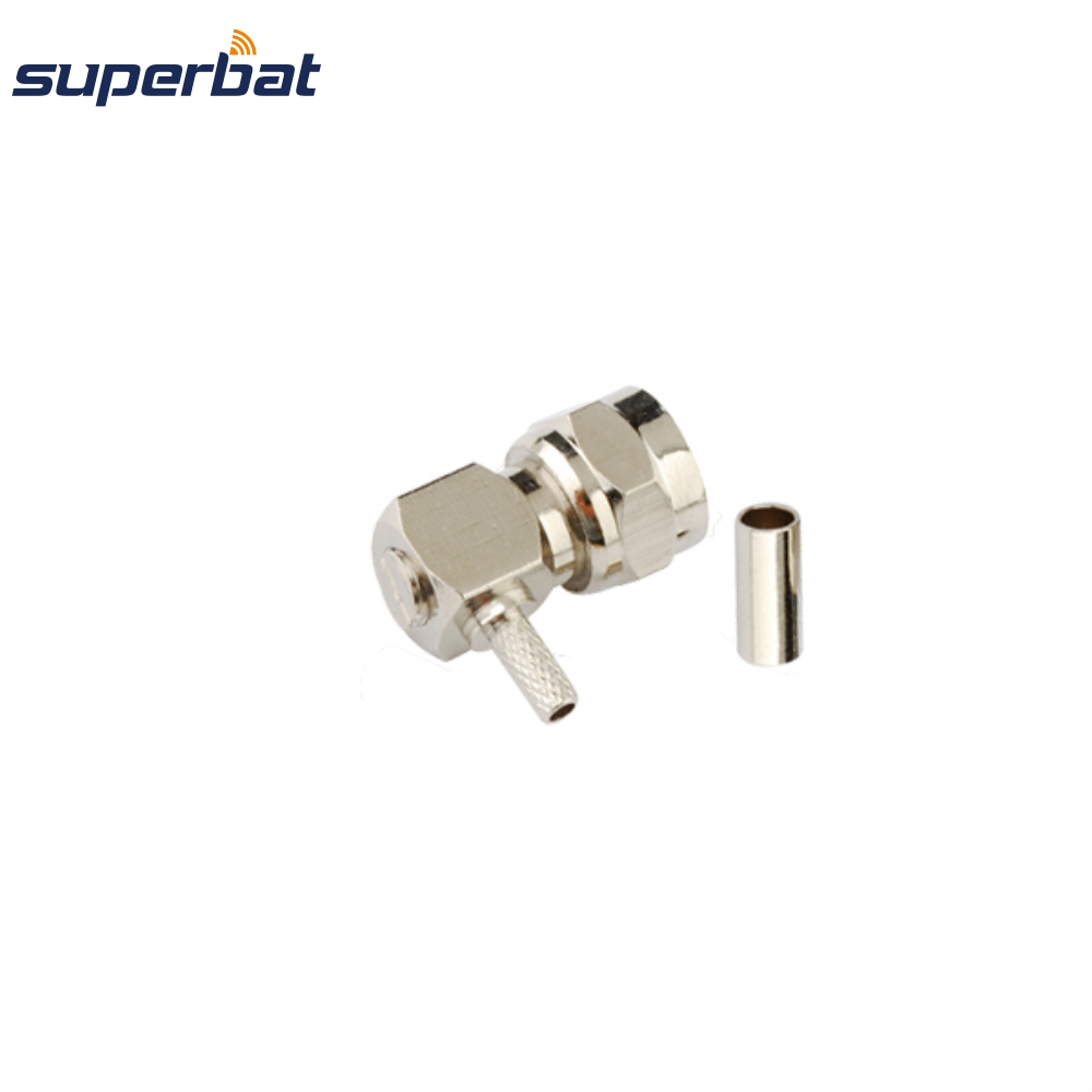 Superbat10 Pcs Free Shipping RF 75 Ohm Connector F Crimp Plug Male Right Angle Connector For RG179