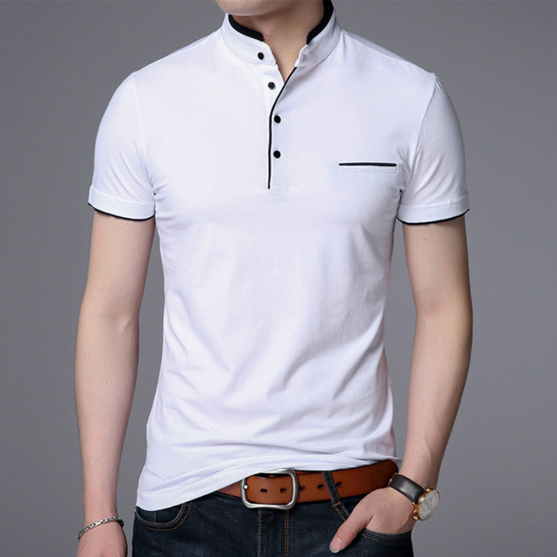 Brands   Polo   Shirt Men Clothes 2019 Summer Cotton Short Sleeve Shirt Male Plus Size 4XL Stand Collar   Polo   Shirts Mens Clothing