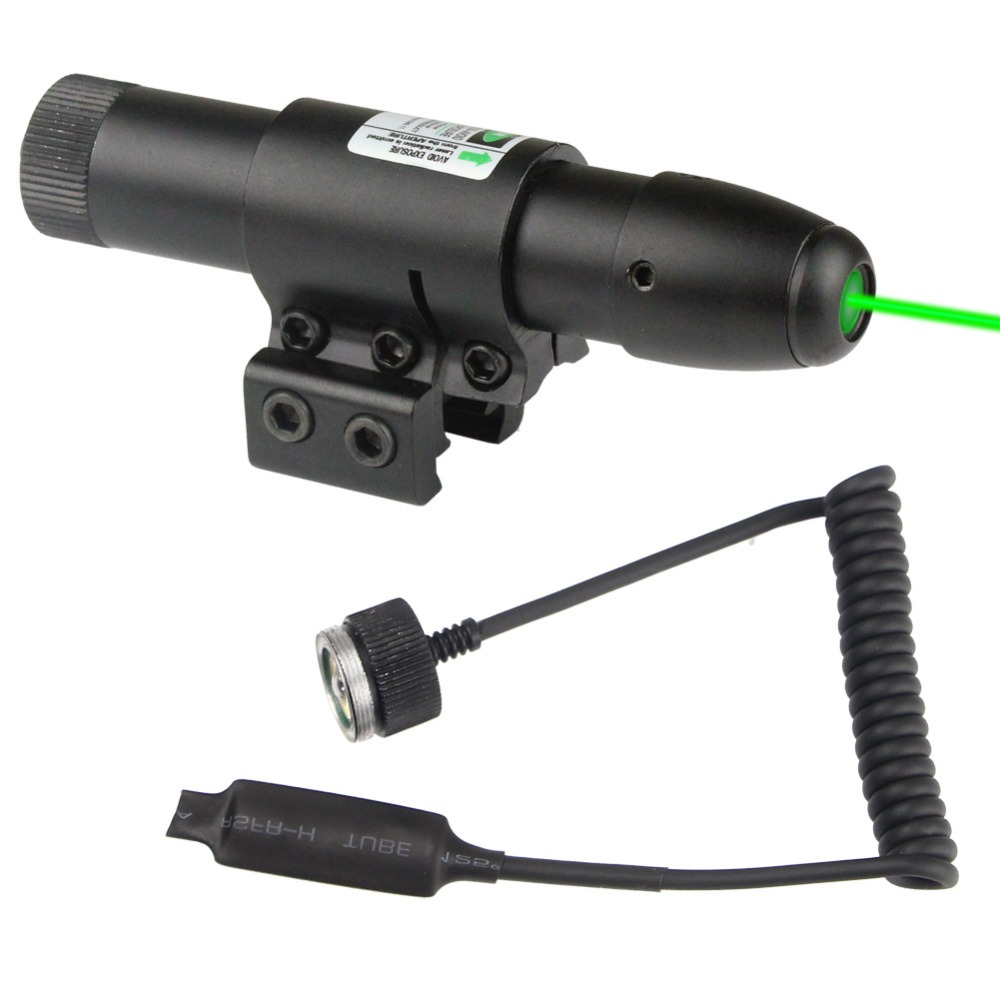 VERY100 Hunting 532nm Green Dot Laser Sight Fits on an Assault Rifle Gun Pistol Scope 2 mounts 11mm + Remote Switch