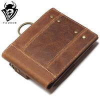 2018 Vintage Genuine Leather Men Wallets Removable Card ID Holders With Key Chain Short Bifold Male