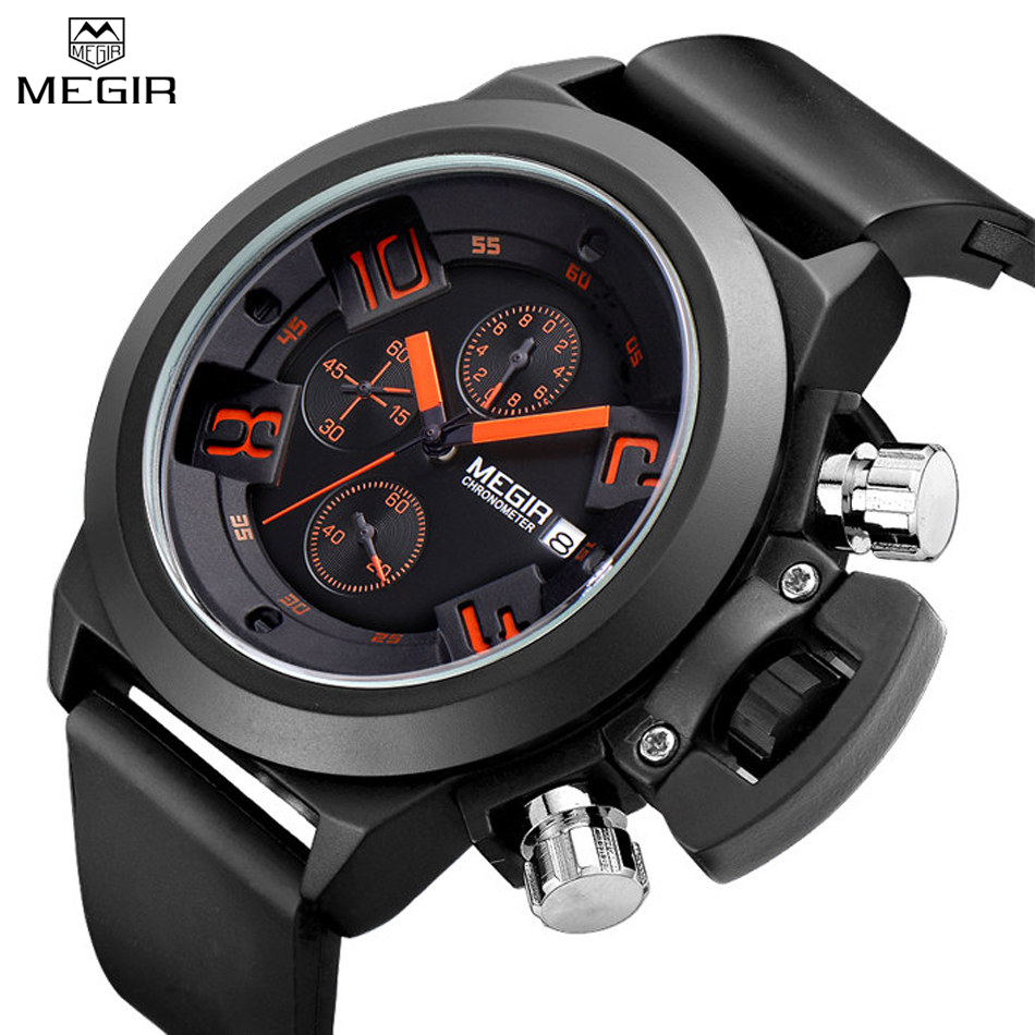 MEGIR Chronograph Auto Date Quartz Watch Large Dial Men Watches Multifunction Luxury Waterproof Wristwatches Relogio Masculino