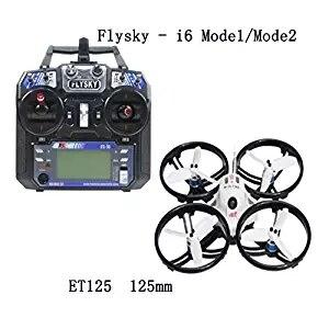 JMT ET125 Mini Drone de course sans balai FPV RC quadrirotor RTF avec contrôleur d'émetteur RC de FS-i6