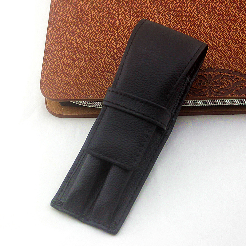1Pc Fountain Pen Pouch Fountain Pen Case PU Pen Pouch Leather Two Pen Storage Case Pouch Sleeve Bag Holder Black