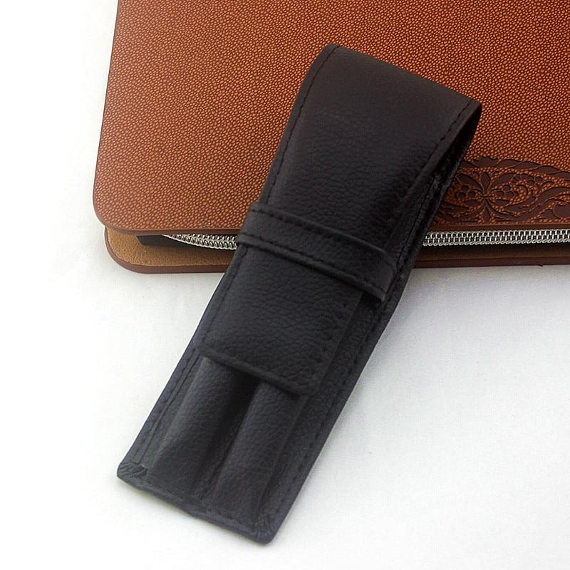 1Pc Fountain Pen Pouch Fountain Pen Case PU Pen Pouch Leather Two Pen Storage Case Pouch Sleeve Bag Holder Black