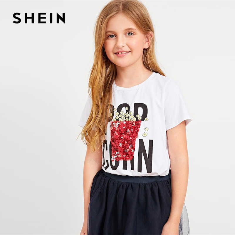 14dc128317 ... SHEIN Kiddie White Letter Print Sequin Casual T Shirt For Girls Tops  2019 Summer Korean Short ...
