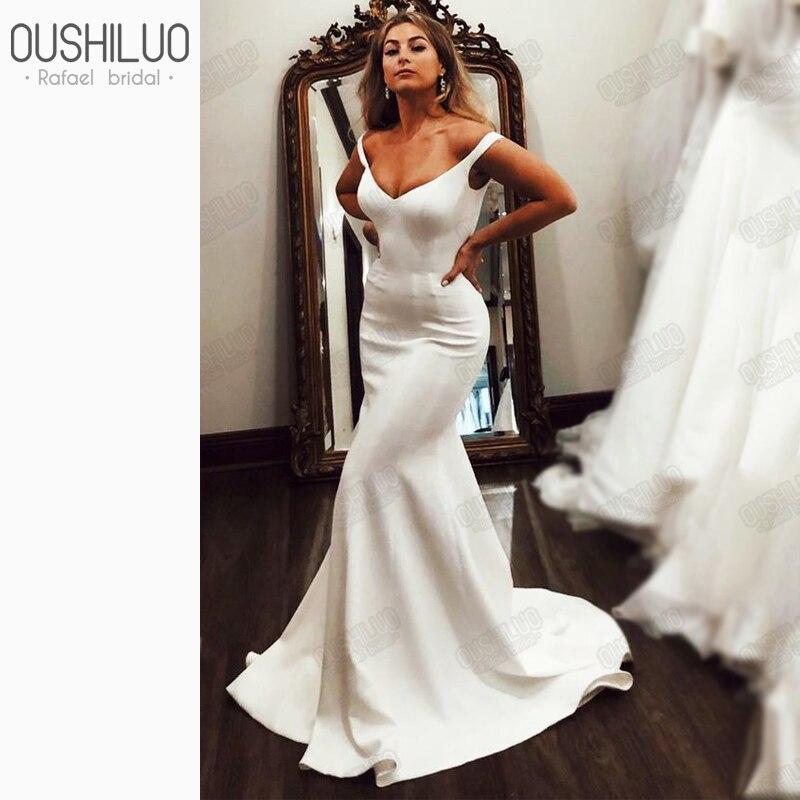 Ivory Satin Mermaid Long Wedding Dress For Sexy Women New Summer V Neck Off Shoulder Trumpet Beach Bridal Dresses Gown Under 100