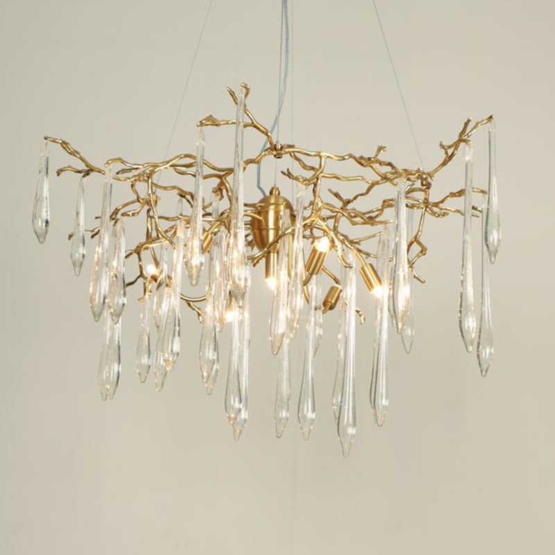 Artistic Branches Colored Glaze Chandelier Hotel crystal Chandeliers Copper Light Restaurant living room lamp
