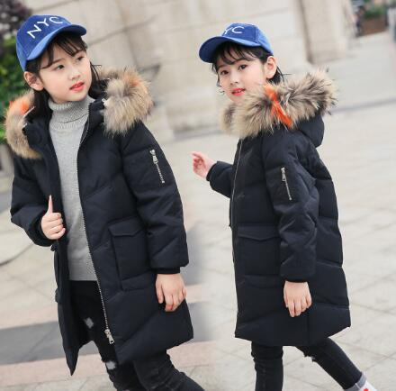 Girls Duck Down Jackets 2018 New Winter Kids Clothing Thick Girl Outerwear Children Coats Fur Collar Hooded Warm Parka bear electric lunch box portable vacuum three layer automatic insulation heating cooking stainless steel rice cooker