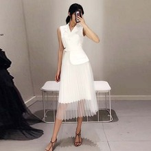 Unique Dresses 2019 Summer Women Elegant White Dress Sleeveless Notched Stitching Mesh Hemline Female Solid Lace Dress Vestido