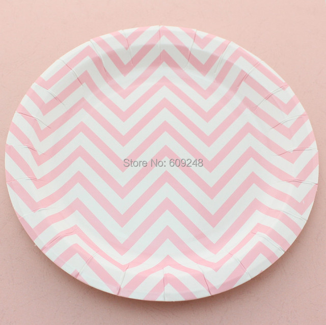 24pcs 9\  Pink Chevron Dessert Paper Plates RoundPersonalized Dinner Dishes Bulk Birthday Wedding : disposable plates bulk - pezcame.com