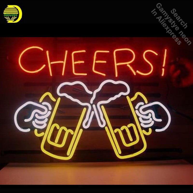 Néon Signe pour Acclamations Bière Néon Ampoule signe artisanat En Verre tubes vintage Décorer les fenêtres Hôtel Bière Bar pub Café Club lumière VD