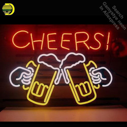 Neon Sign for Cheers Beer Neon Bulb sign handcraft Glass tubes vintage Decorate windows Hotel Beer Bar pub Coffee Club light VD