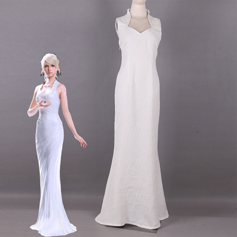 Game Final Fantasy XV Lunafreya Nox Fleuret Cosplay Costume Formal Dress Carnival Christmas Sexy White Fancy Gown Custom Made