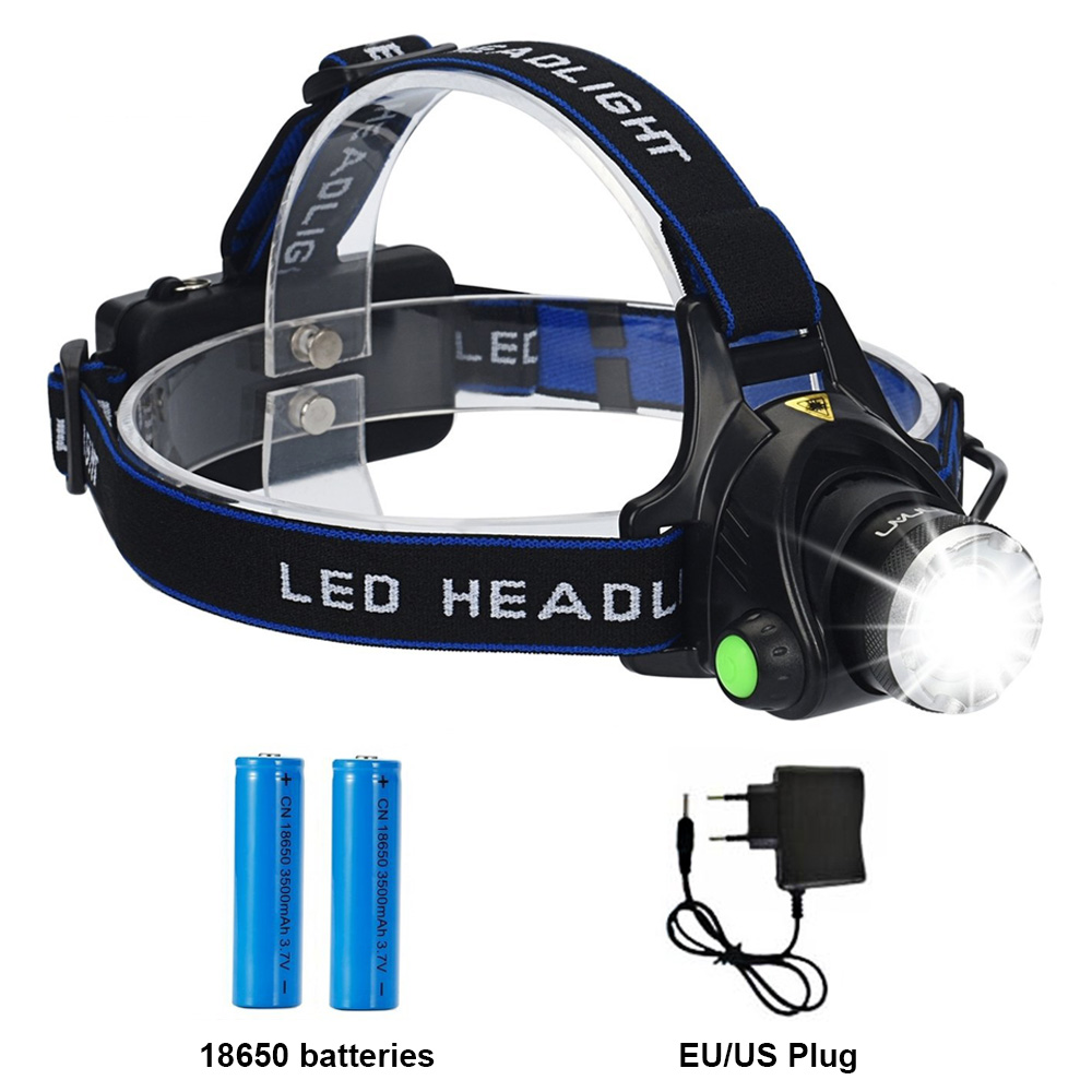 T6 Led Headlamp Rechargeable Batteries Headlight Zoomable Waterproof Head Torch Flashlight Head Lamp Fishing Hunting Light t6 xpe led head lamp 50w zoomable headlamp 5leds headlight tube torch led flashlight car charger 18650 batteries high lights