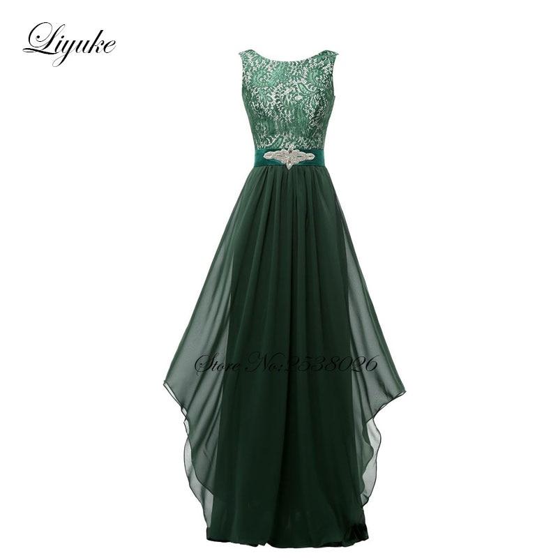 a9a28652c0 Liyuke Lace Com Chiffon Vestidos de Dama de honra Vestido Formal Simples E  Elegante UMA Linha Lace Up Sem Costas Vestido Longo da Luva do Tampão