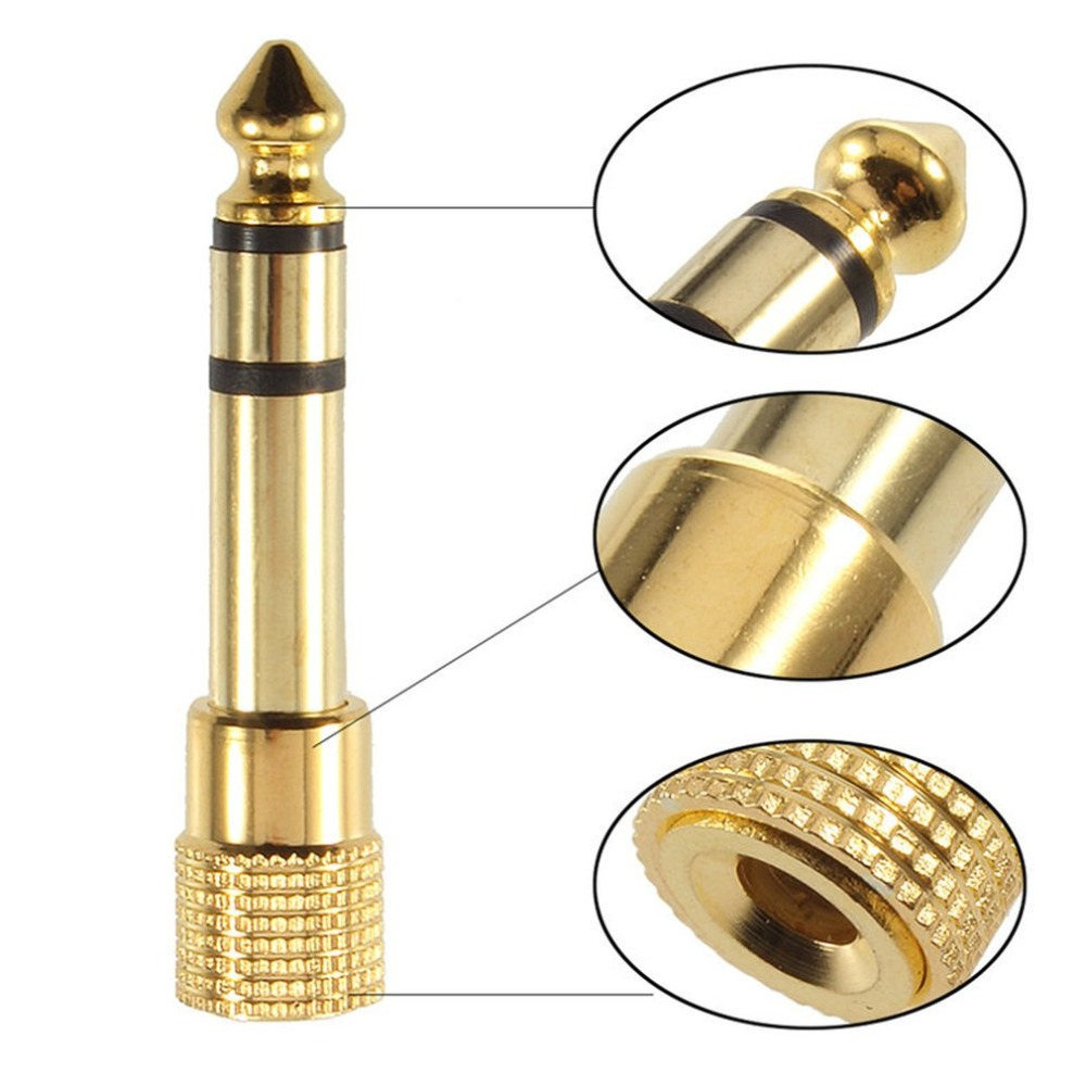 Hot Sale Portable Durable Golden 3.5mm Male To 6.5mm Female Stereo Adapter Plug Headphone Adapter Plug Terminals Audio Plug
