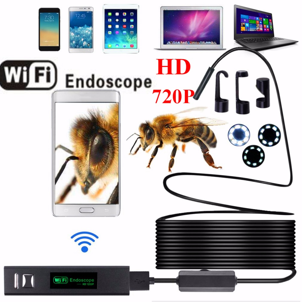 HD 720P 8mm Lens WIFI Endoscope Camera 1M 2M 3.5M 5M 10M With 8 LEDs Waterproof IP68 IOS Iphone Endoscope Android Car Endoscope leshp 8mm lens 2mp hd wifi endoscope camera with 1m 2m 3m 5m soft hard cable waterproof ip67 for ios iphone android tablet pc