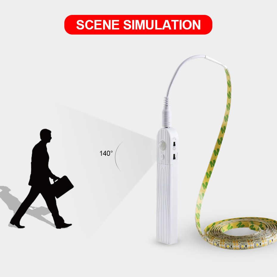 Светодиодная лента PIR Motion сенсорный диод лента Водонепроницаемая неоновая Лента USB гибкая белая подсветка питание от аккумулятора DC 5 V для ТВ ПК