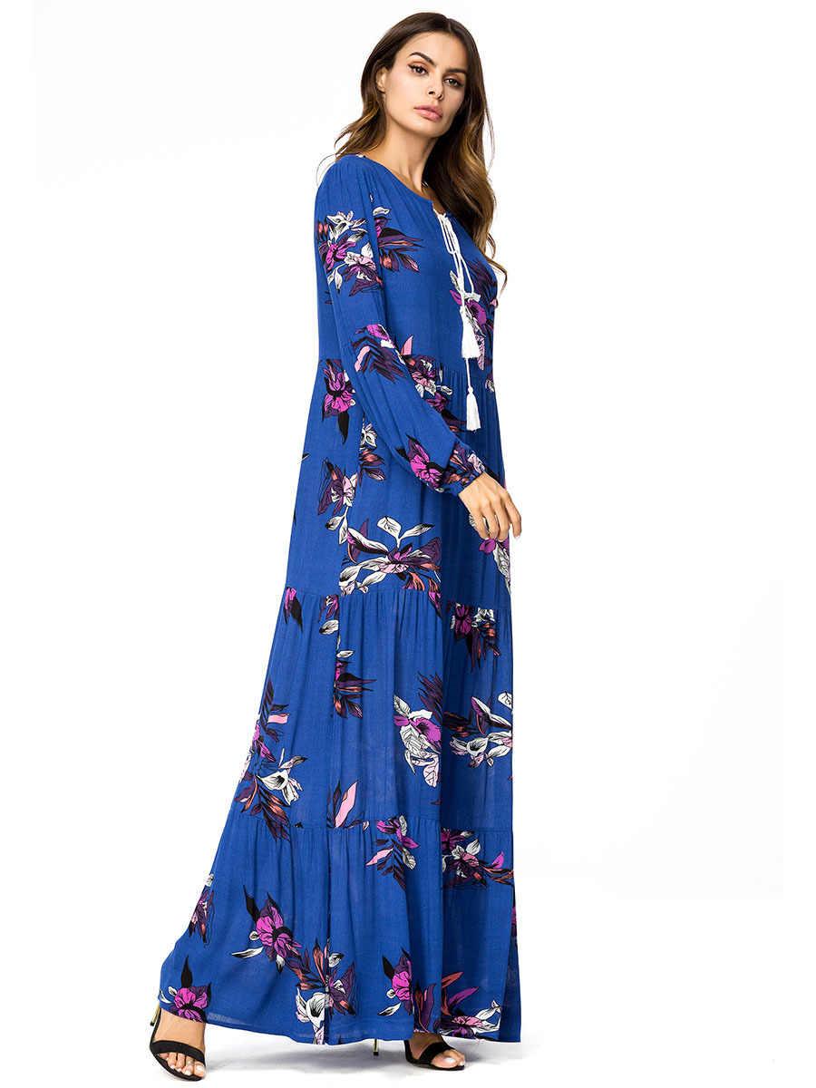Для женщин Abayas Дубай мусульманское длинное платье с цветочным принтом Турции Малайзии турецкий Кафтан Исламская Костюмы плюс Размеры синий длинный халат 4XL