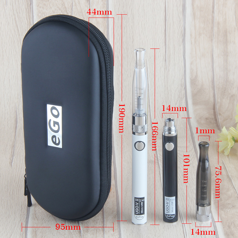 Kingfish double UGO-V ll H2 vape in eGo Kit Zipper Case VAPE 650/900mah UGO-V ll battery 2.0ml H2 atomizer Electronic Cigarette
